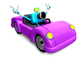 Driving a purple sports car in biue camera Character. Create 3D Camera Robot Series.