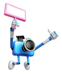 The best gesture of the left hand is taking Master Blue Camera Character. The right hand grasp board. Create 3D Camera Robot Series.
