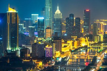 night view of tianjin city skyline,china. Papier Peint