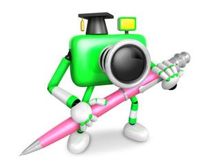 Green Camera Character ballpoint pen a handwriting. Create 3D Camera Robot Series.