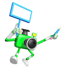 The left hand Holding the board Doctor Green Camera Character. The right hand grasp pencil. Create 3D Camera Robot Series.