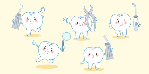 cute cartoon tooth with tool