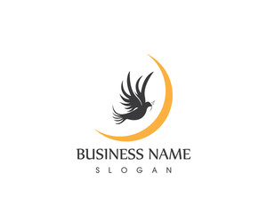 Black Dove Bird Silhouette Logo Design