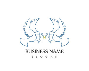 Dove Bird Wedding Symbol Logo Design