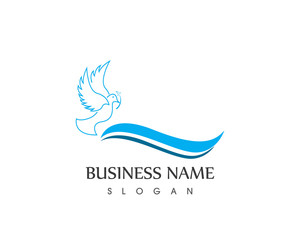 Blue Dove Bird Line Logo Design