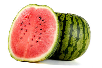 Ripe striped watermelon isolated on white