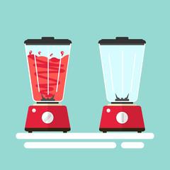 blender fruit juice flat vector