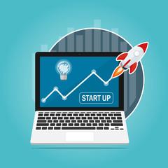 rocket fast start up launch lightbulb idea,ecommerce business start up graph flat vector