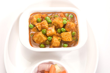 Cheese Cooked with Peas, Indian Dish