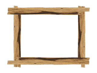Picture frames made of plank wood isolated on white background