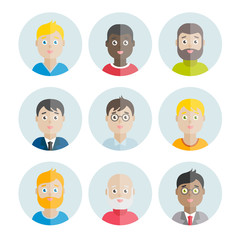 Collection of vector flat men's avatars for web, print, mobile apps design