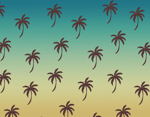 Background. Summer. Flat monochrome summer pattern. Wrapping paper summer pattern. Cute doodle summer pattern with palm tree and waves.