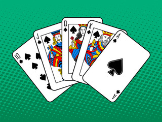 Royal flush pop art style vector