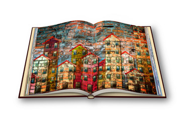 3D render of an opened photobook with public housing concept image