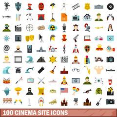 100 cinema site icons set, flat style