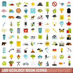 100 ecology book icons set, flat style