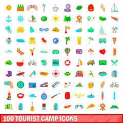 100 tourist camp icons set, cartoon style
