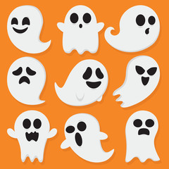 Cute Little Ghosts With Orange Background