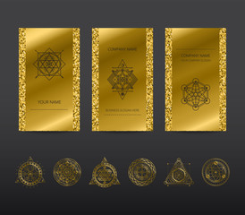 Vector geometric cards . Light golden flyers . Gold tickets .Premium vector frame .