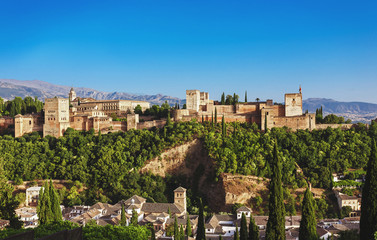 lhambra palace at Granada, Spain. Panorama view on old medieval arab palace at Andalusia. Famous travel destination.