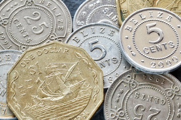 Extreme close up picture of Belize money, shallow depth of field.