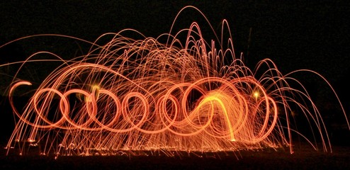 Spirals, loops and trails of light created with steel wool photography.