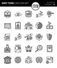 Modern grey tone thin line icons set of business economics. Premium quality outline symbol set. Simple linear pictogram pack. Editable line series