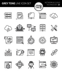 Modern grey tone thin line icons set of network & cloud technology . Premium quality outline symbol set. Simple linear pictogram pack. Editable line series