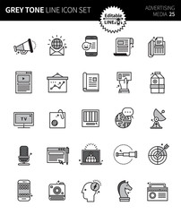 Modern grey tone thin line icons set of advertising media. Premium quality outline symbol set. Simple linear pictogram pack. Editable line series