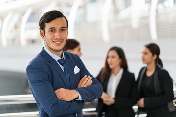 Business man portrait smile with confident elegant look