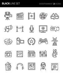 Modern thin black line icons set of entertainment. Premium quality outline symbol set. Simple linear pictogram pack. Editable line series