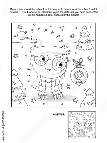 Winter holiday themed connect the dots picture puzzle and coloring ...