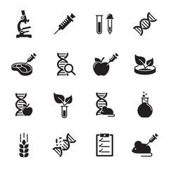 GMO, Genetics icons set