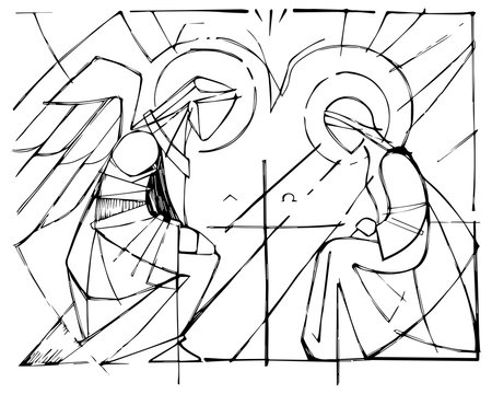 Virgin Mary and Gabriel Archangel at the Annunciation