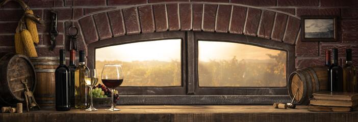 Fototapeta Rustic wine cellar in the countryside