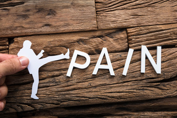 Hand Holding Paper Businessman Kicking Word Pain