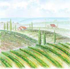 illustration of countryside landscape with vineyard, trees, hills, farm houses