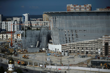 The Ekaterinburg Arena stadium is seen under construction ahead of the 2018 FIFA World Cup in Yekaterinburg