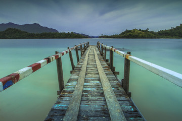 traditional jetty dock at Pagang Island West Sumatera Indonesia