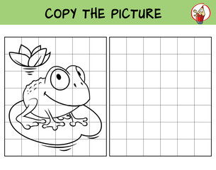 Funny frog. Copy the picture. Coloring book. Educational game for children. Cartoon vector illustration