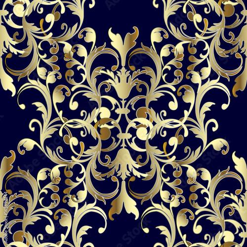 Baroque seamless pattern floral damask dark blue for Dark blue and gold wallpaper