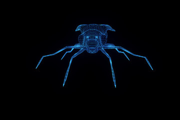 Fly in Hologram Wireframe Style. Nice 3D Rendering