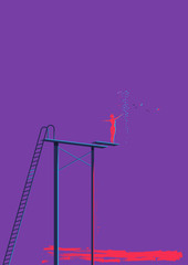 Woman on a High Diving Board