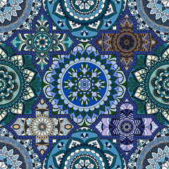 Patchwork pattern. Vintage decorative elements. Hand drawn background. Islam, Arabic, Indian, ottoman motifs. Perfect for printing on fabric or paper.
