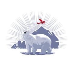 Белый медведь, айсберг, самолет, иллюстрация, вектор