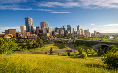Fototapete - City skyline of Calgary, Canada