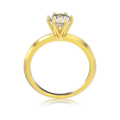 3D illustration isolated yellow gold classic ring with diamonds with reflaction