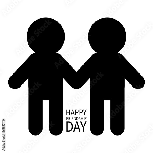 happy friendship day two black man male silhouette sign symbol
