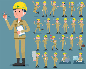 flat type helmet construction worker man_1