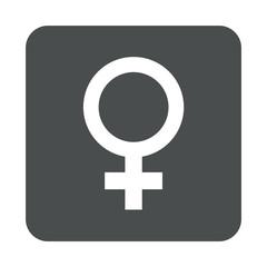 Icono plano femenino en cuadrado gris